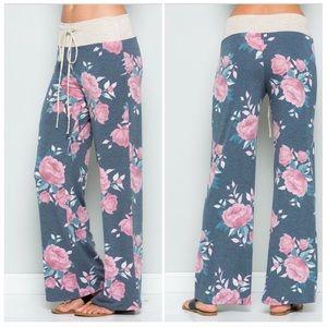 Pants - Floral Casual Wide Leg Lounge Pants
